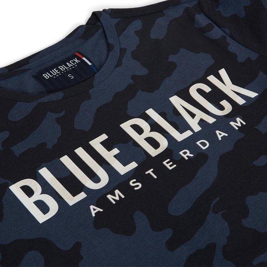 Blue Black Amsterdam T-shirt Jongens ronde hals Tony - Blauwe Camouflage - 152