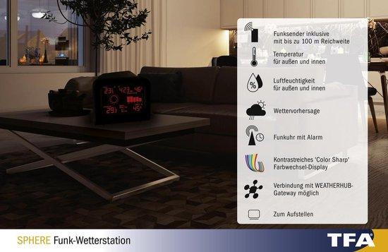 Bol Com Tfa Sphere Luxe Weerstation Kleuren Display Temperatuur En Luchtvochtigheid