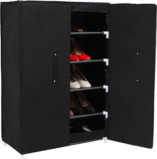 Schoenenrek met 6 niveaus - 15 paar schoenen - 61x28x89 cm - Zwart
