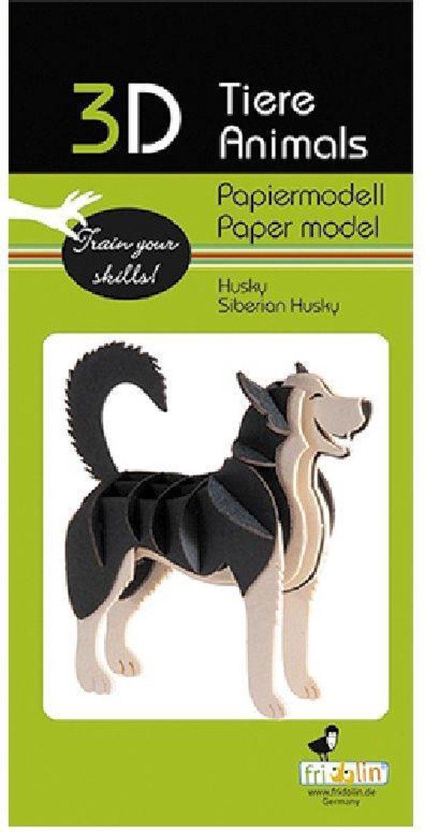 3D puzzel en bouwpakket Siberische Husky van karton