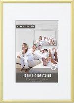 Halfronde Aluminuim Wissellijst - Fotolijst - 40x50 cm - Helder Glas - Mat Goud - 10 mm