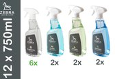 ZEBRA D-INFECTOL HYGIENE XL-3: 12 X 750 ML hygiëne-set = D-INFECTOL alcohol spray 70% met desinfectie – anti bacterie – ontsmetting eigenschappen + GLAS + KEUKEN + BADKAMER, reinigingsspray, multi oppervlakken