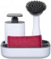 Vigar Rengo Gootsteenset met zeeppomp en afwasborstel wit- grijs