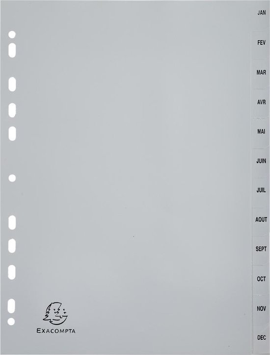 10x Tabbladen met bedrukte tabs in grijze PP - 12 tabs - januari/december - A4, Grijs