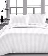 Dekbedovertrek Satijnen Strepen - Wit - Lits Jumeaux 240x220cm - Polyester
