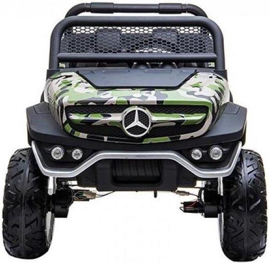 Bol Com Elektrische Kinderauto Mercedes Benz Unimog Camouflage 2 Persoons 4x4 Met Mp4 Scherm