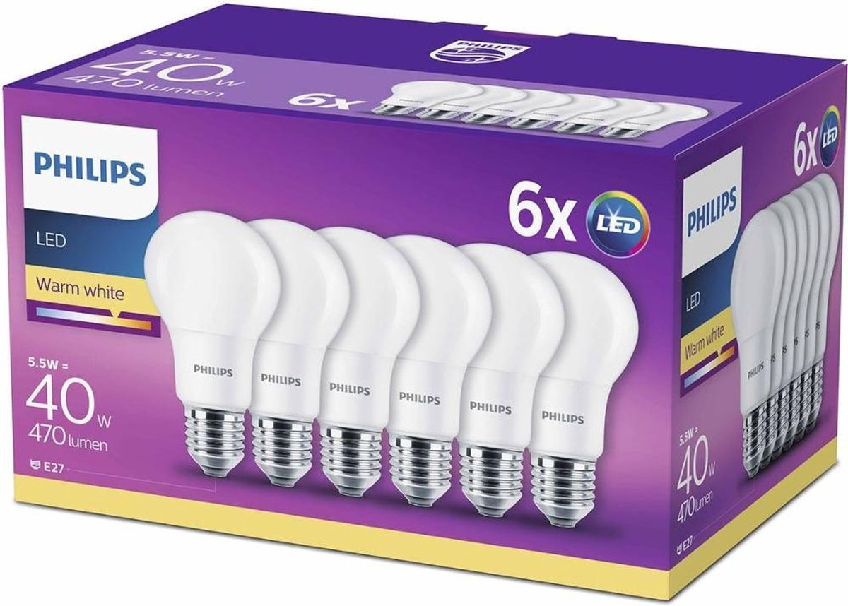 Philips LED Bulb E27 40W Warm Wit 6 pack