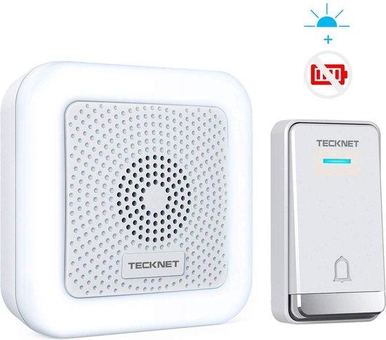 Tecknet draadloze deurbel met 1 ontvanger | ingebouwd LED lampje | Duurzame zender zonder batterijen