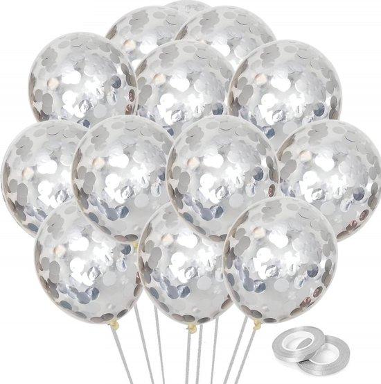 Partizzle® 25x Zilveren Confetti Latex Ballonnen - Feestballonnen - Verjaardag Versiering - Helium