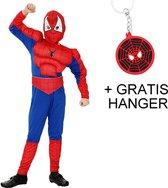 Spiderman pak Luxe Spinnenheld kostuum spider superheld verkleed pak 116-122 (M) + GRATIS tas/sleutel hanger verkleedkleding