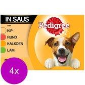 Pedigree Adult Maaltijdzakjes Multipack - Vlees & Gevogelte in Saus - Hondenvoer - 4 x 12 x 100g