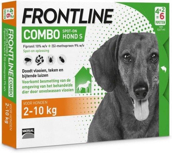 Frontline - Combo - Anti-vlooienmiddel en tekenmiddel - 2 tot 10 kg - Hond - 6 pipetten