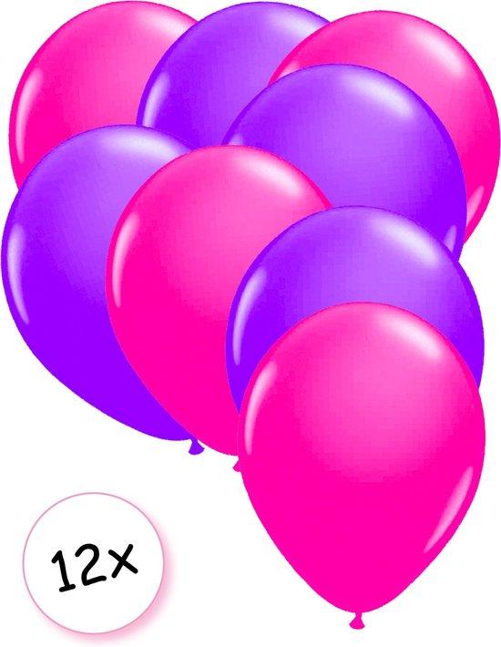 Ballonnen Neon Roze & Neon Paars 12 stuks 25 cm