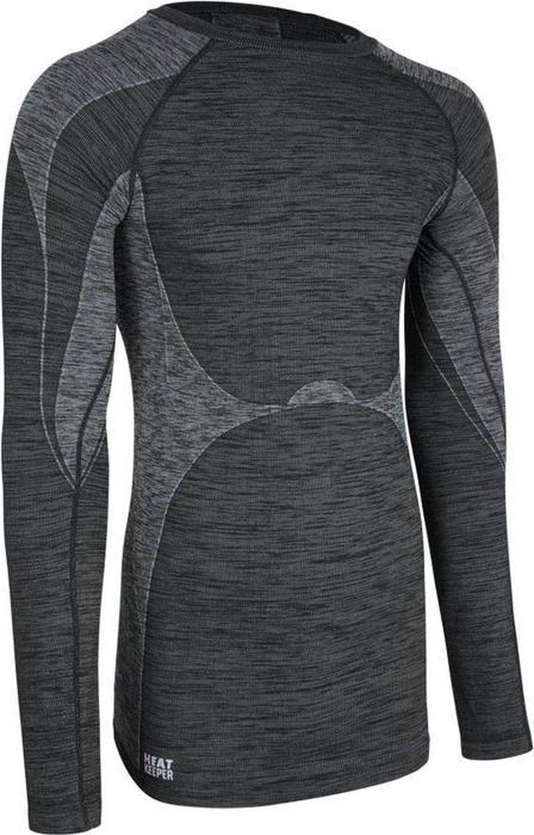 Thermo shirt zwarte melange lange mouw voor heren - Wintersport kleding - Thermokleding L (52)