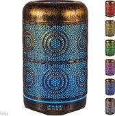 Gadgy Aroma Diffuser – aromatherapie vernevelaar – Luchtbevochtiger metaal – sfeerverlichting met 7 kleuren