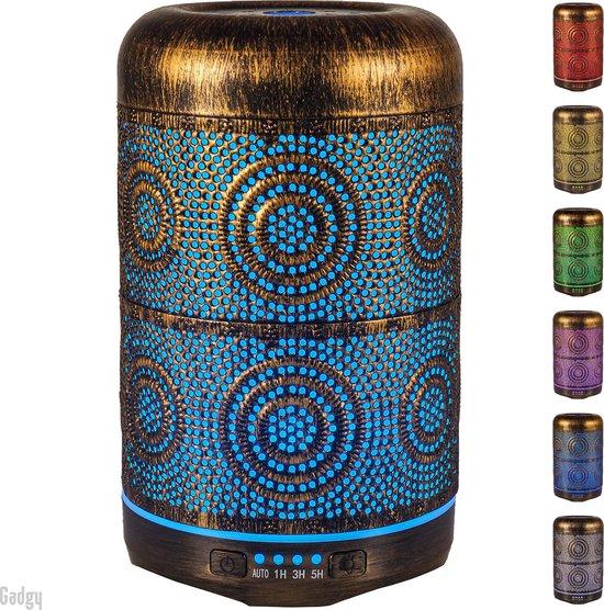 Gadgy Aroma Diffuser – geurverspreider - aromatherapie vernevelaar – Luchtbevochtiger metaal – sfeerverlichting met 7 kleuren