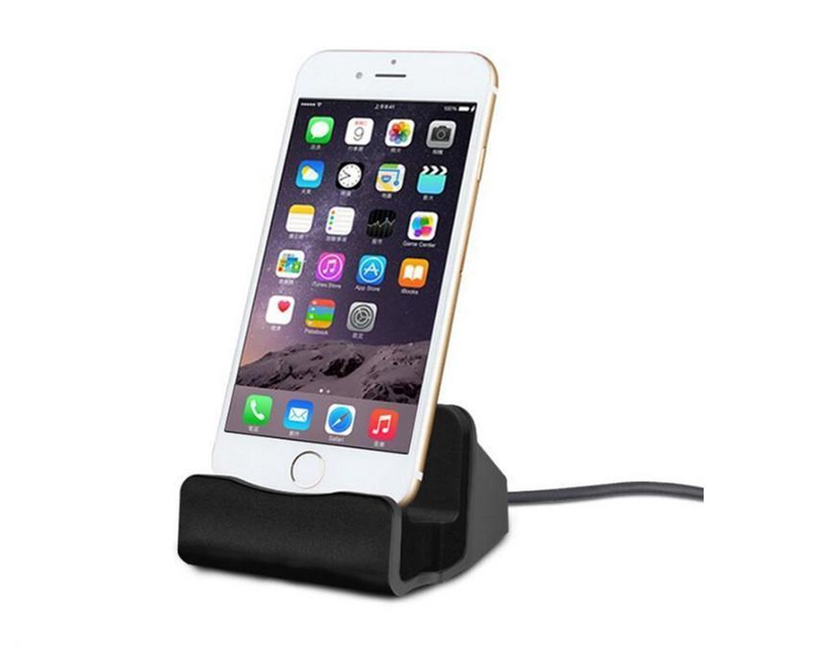 Premium iPhone XR / XS / 11 / 11 Max / / 7 / Plus / 6S / 6 / 5 / 5S / 5C / 6 Plus / SE Desktop Luxe Premium Docking Station Sync Oplader - Zwart