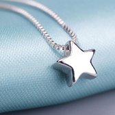 222 - Zilveren ketting met ster - 925 sterling zilver - Dames ketting - Glanzende ster