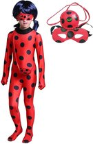 Ladybug kostuum Miraculous superheldin pak meisjes - Verkleedkleding - 128/134 (130) + GRATIS tasje & masker