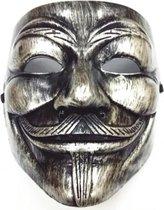 Anonymous Masker - Zilver - Bekrast - Vendetta - Mask - Leuk voor Halloween - Verkleedpartijtje - 2 Stuks