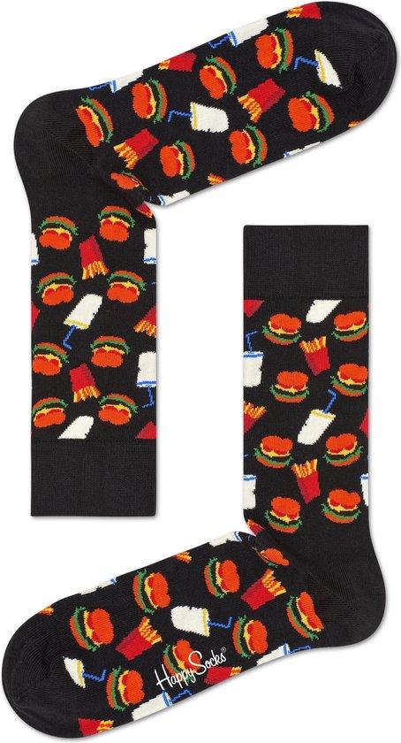 Happy Socks - Hamburger Junkfood - Zwart/Multi - Unisex - Maat 41-46