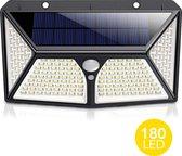 LifeGoods Solar Buitenlamp met Bewegingssensor - 180 LEDs - Wit Licht - Tuinverlichting op Zonneenergie - IP65 Waterdicht - Voor Tuin/Wand/Oprit