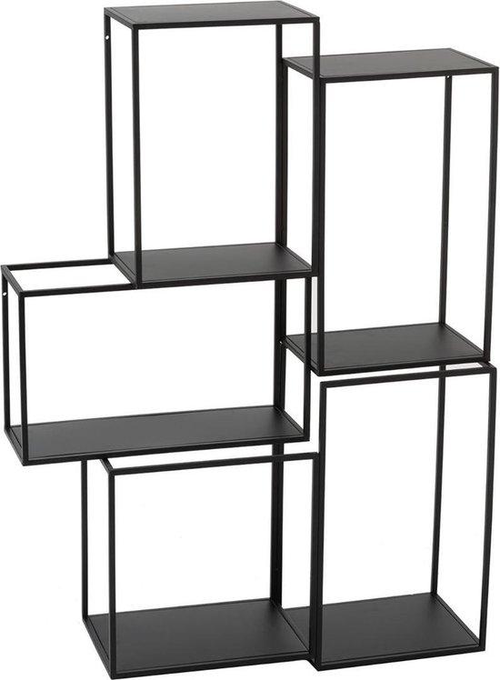J-Line Rek Hang 3 Delen Modulair Metaal Zwart 90 x 15 x 65,5