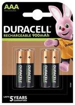 Duracell Rechargeable AAA 900mAh batterijen, verpakking van 4
