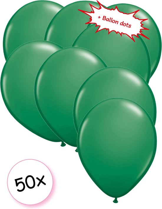 Ballonnen Groen 50 stuks 27 cm + Ballon Lijm Plakkers - Plafond Stickers