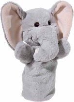 Pluche grijze olifant handpop knuffel 25 cm - Olifanten knuffels - Poppentheater speelgoed kinderen