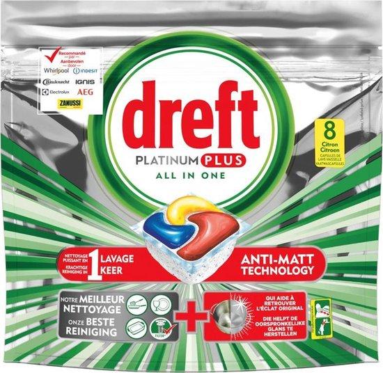 Dreft Platinum Plus Citroen All in one - 8 vaatwastabletten