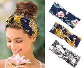 MINIIYOU® Set 3 stuks dames haarbanden gebloemd - meiden - tieners - vrouwen - volwassenen haarbanden gebloemd | haarband bloemenprint met knoop