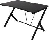 NÖRDIC GAME-N1007 (GAM-055) – Gaming tafel, zwart, MDF-schijf, metalen poten, kabelhanger, zwart