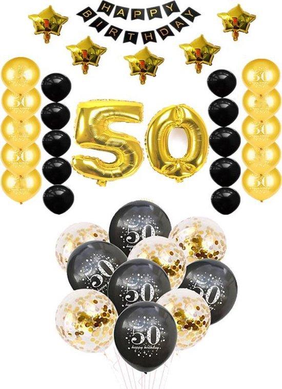Sara Abraham pakket. 50 Jaar verjaardag. Ballonnen en versiering voor feest verjaardag of gouden huwelijk. 38 delig