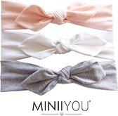 MINIIYOU® Set Per 3 stuks | Peuter haarbandjes 1-4 jaar | Setje Baby haarbandjes | Baby hoofdband  | Meisjes haarbandjes met strik | roze - grijs - wit