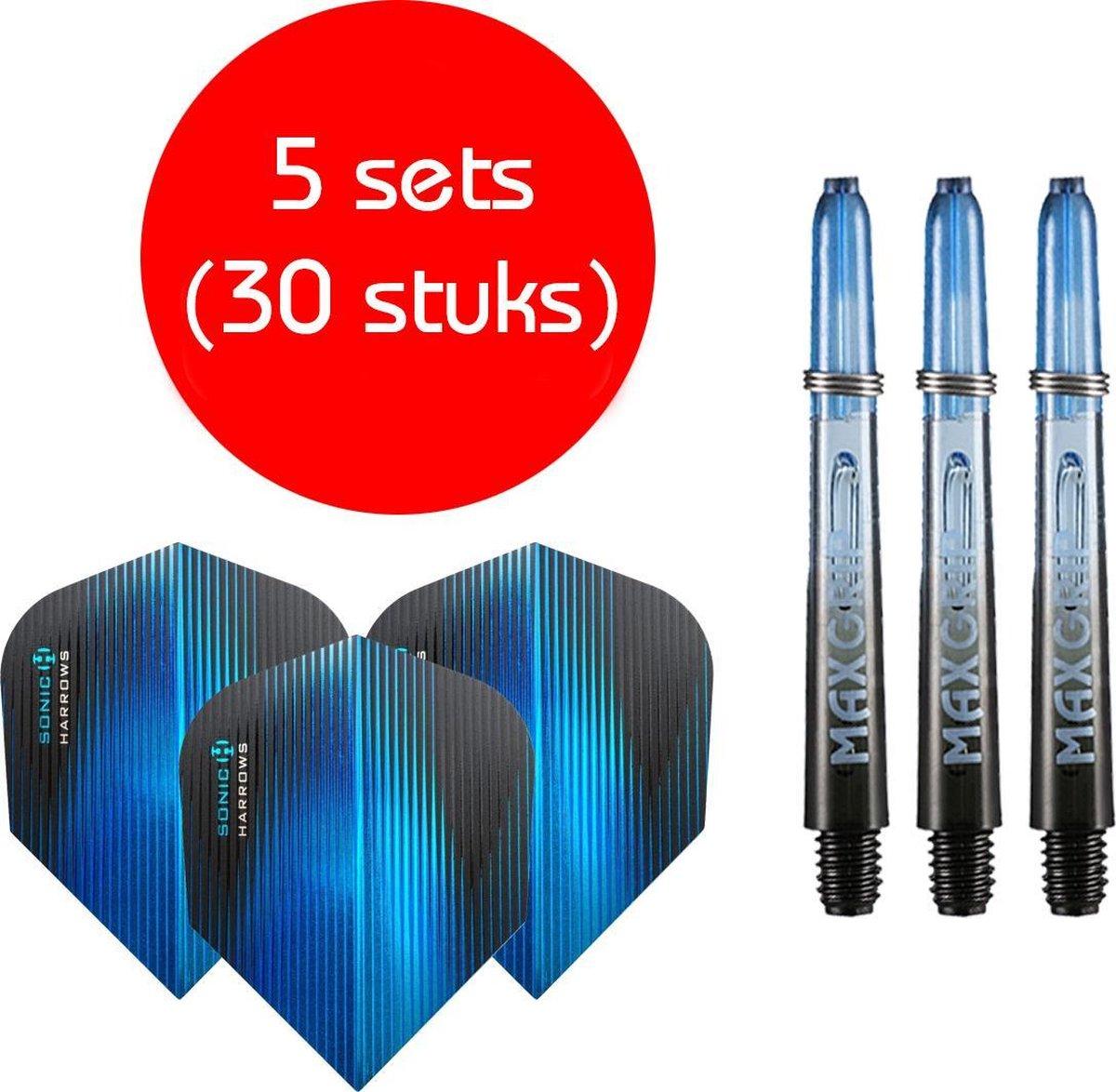 Dragon darts - Maxgrip - 5 sets - darts shafts - zwart-blauw - short - en 5 sets - Sonic blauw - darts flights