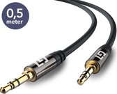 LifeGoods Stereo Audio Jack Kabel 3.5 mm - AUX Kabel Gold Plated - Male to Male - Zwart -  0,5 meter