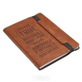 Journals Lux-Leather Bullet Elastic Closure Whatever Is True Brown