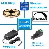 LED Strip - 5 meter - Compleet set - Plug & Play - Kleur Warm Wit - LED type 3528 - 60 led/m - IP20
