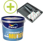 Flexa Powerdek Muurverf - 10L - Muren & Plafonds - Stralend Wit  + Muurverfset 5-delig