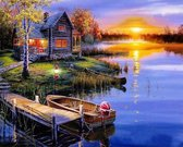 Happy Painter® Diamond Painting volwassenen - Zomerse Zonsondergang - 40x30 cm