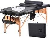 BestMassage MT-TSF2-Black – Massagetafel, draagbaar massagebed, lengte 186 cm, gezichtskussen, verstelbaar hoofdsteun, tweevoudig inklapbaar, draagtas, zwart