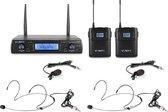 Draadloze microfoon - Vonyx WM62B draadloze headset microfoon met twee headsets - 16 kanaals - UHF - Headset / dasspeld