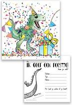 uitnodiging kinderfeestje dino - dinosaurus - confetti - jongen - feest