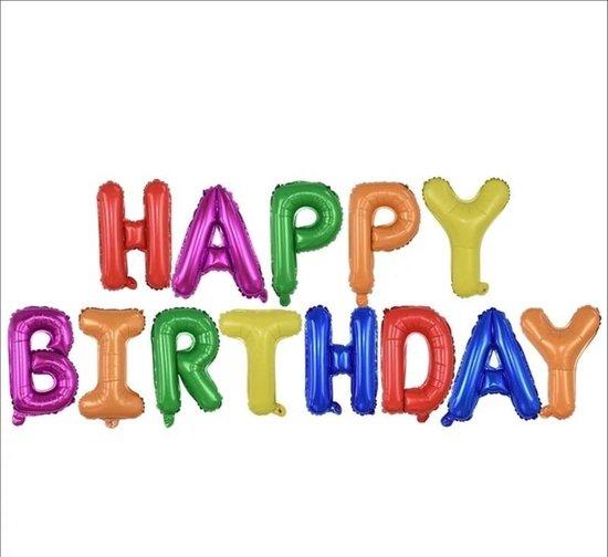 Folie ballonnen met letters 'HAPPY BIRTHDAY' in vrolijke kleuren (13 stuks) - Verjaardag decoratie