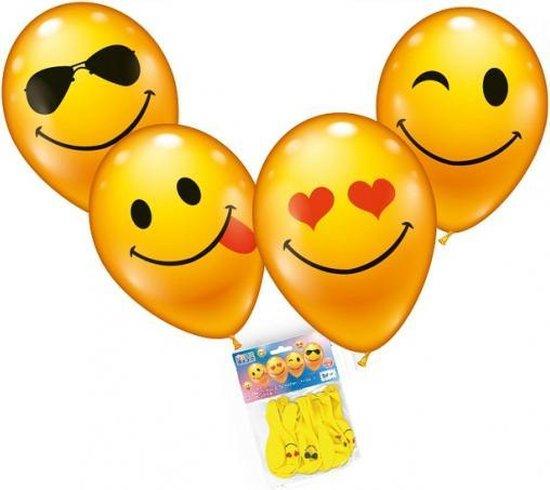 Smiley thema party ballonnen 16 stuks - Feestartikelen en versieringen