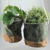 Spant7 - set gave hangers van groen textiel en kurk - 16 en 18 cm