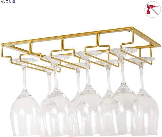 Ophangrek Wijnglazen - Wijnrek - Wijnglazenhouder - Wijnglazen Rek - 4 Rijen voor 12 Glazen - Hangen met of Zonder Schroeven ®