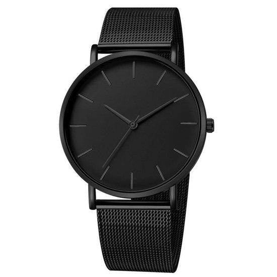 Vintage Mesh Horloge Zwart Zwart