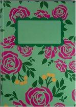Agenda - Planner - Hardcover Groen Roze Roosjes 52 weken - werkplanner - Lifestyle planner - Planner